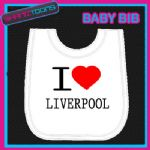 I LOVE HEART LIVERPOOL WHITE BABY BIB EMBROIDERED - 160885383313